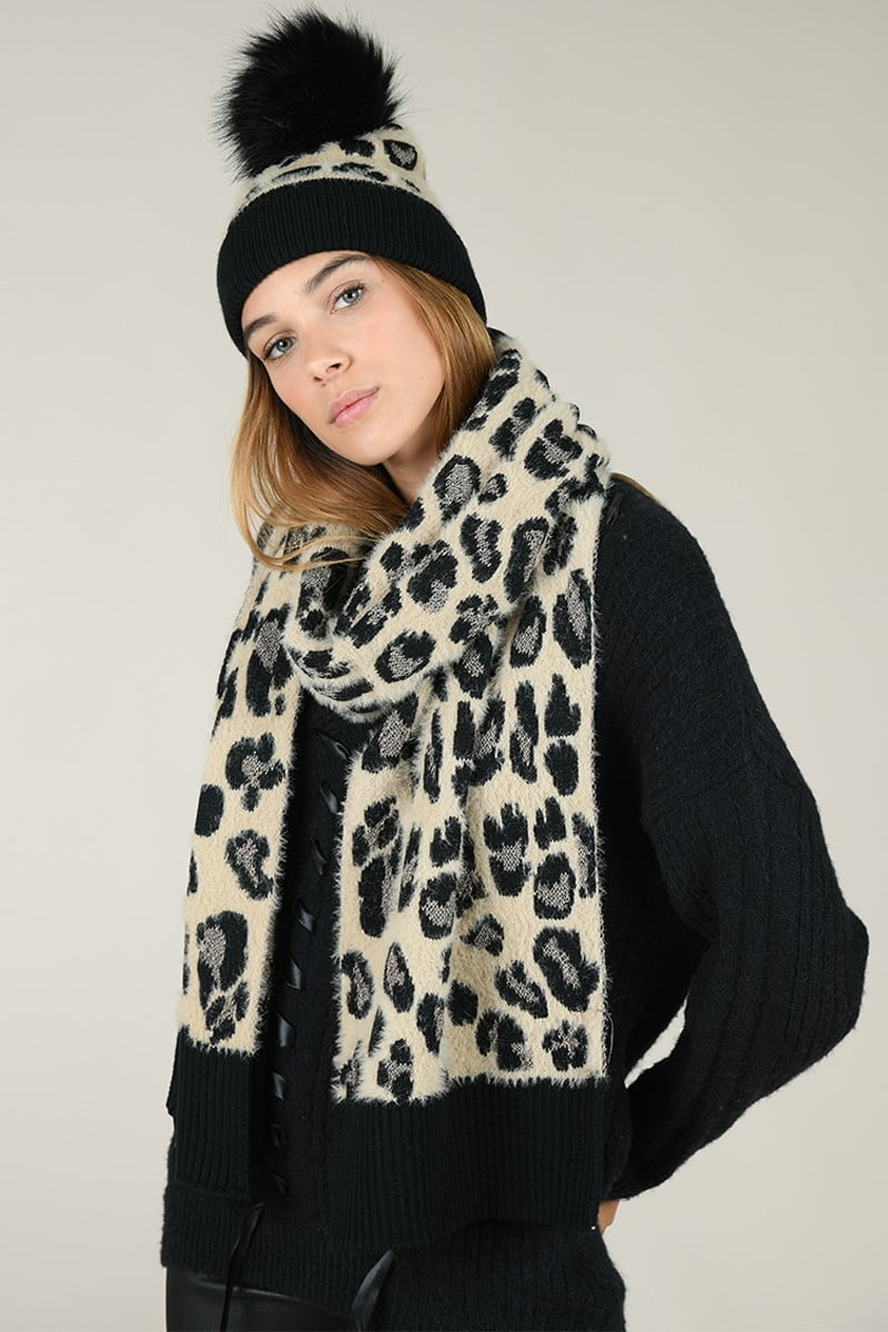 66149 set scarf and beanie panther print