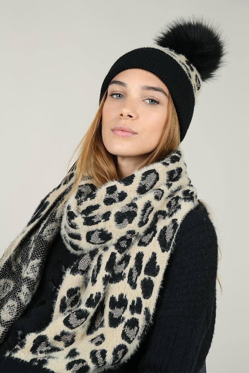 66151 set scarf and beanie panther print