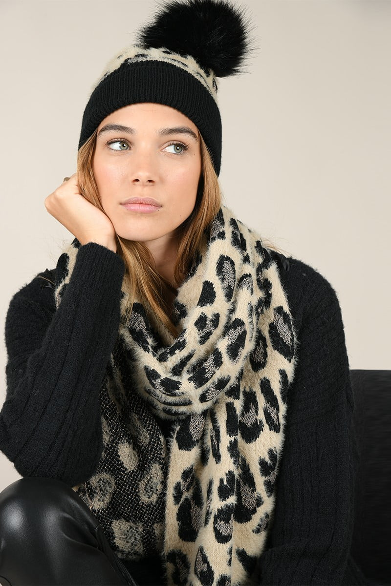 66152 set scarf and beanie panther print