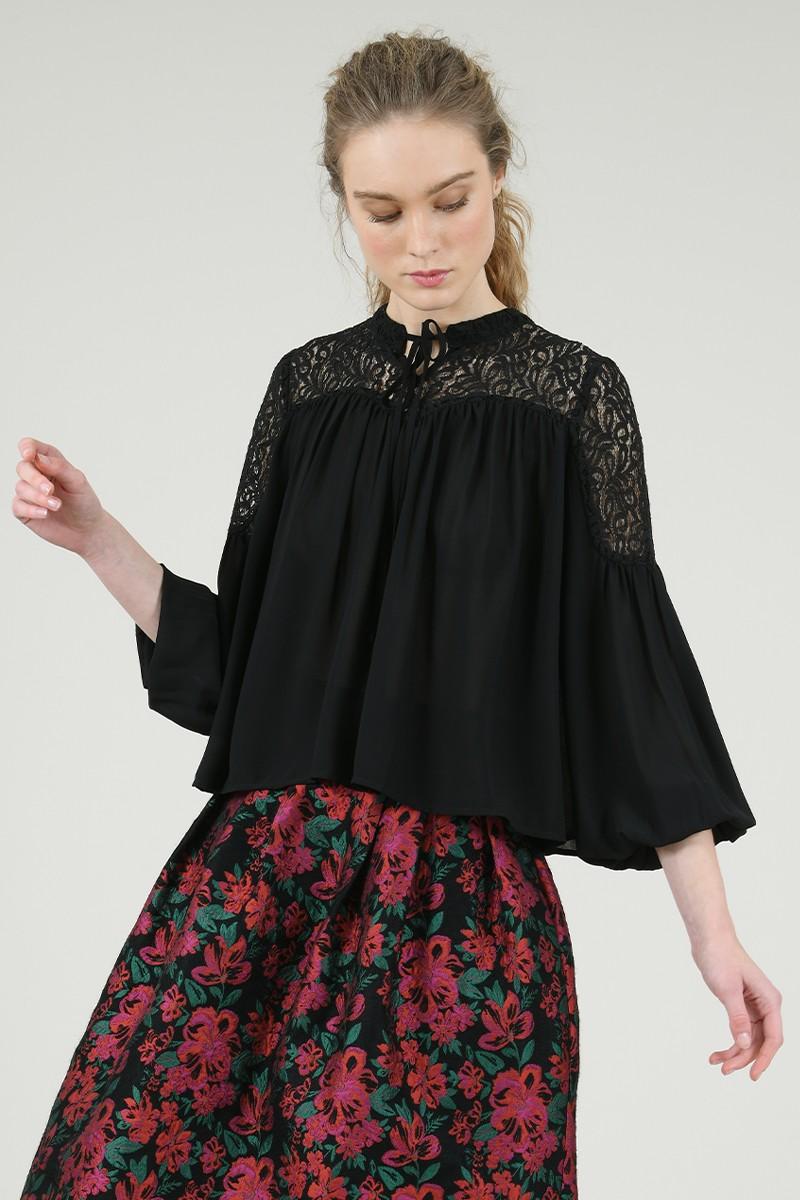 67067 lace yoke blouse