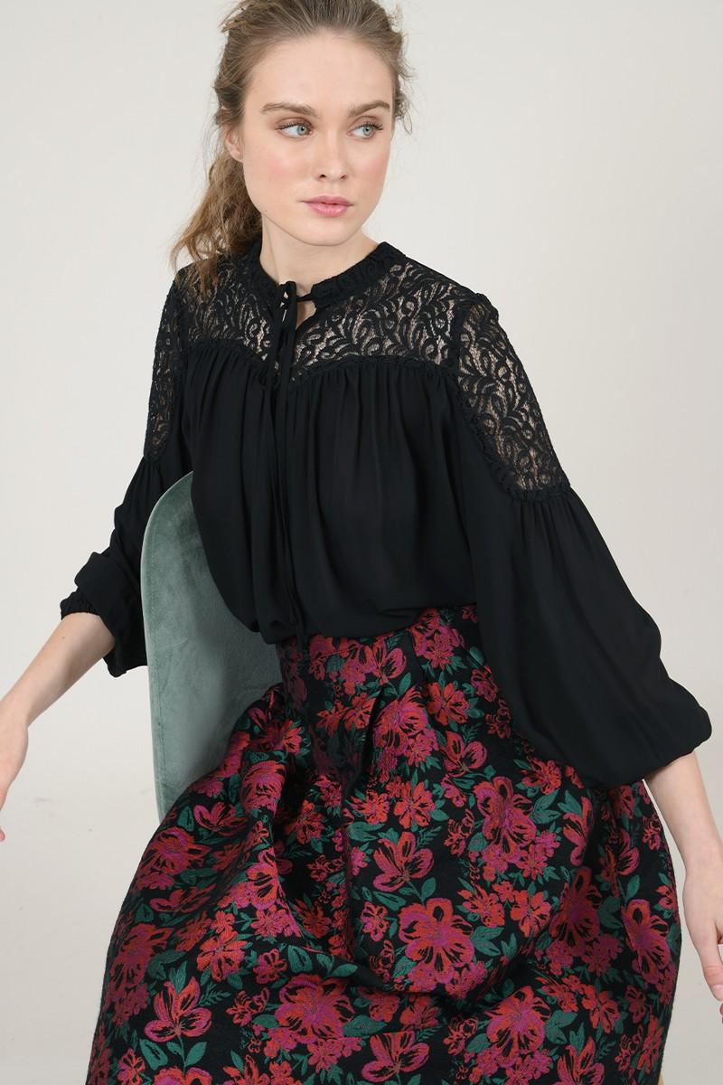 67069 lace yoke blouse
