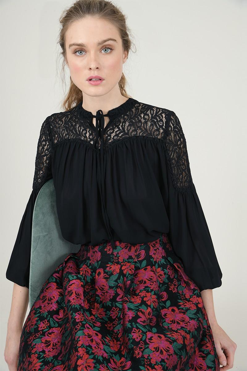 67072 lace yoke blouse