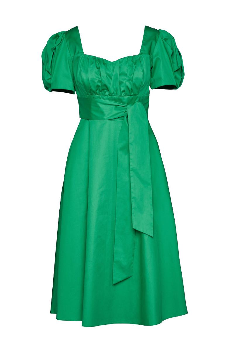 Φόρεμα ποπλίνα με φουσκωτά μανίκια