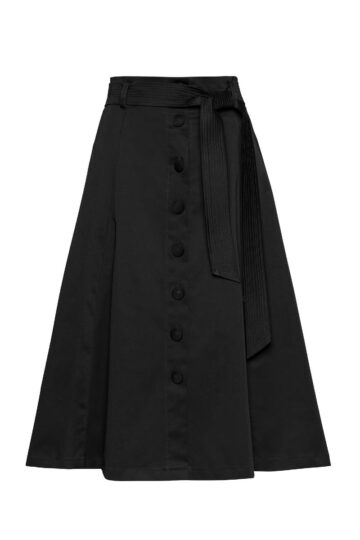Black midi skirt with buttons in the front