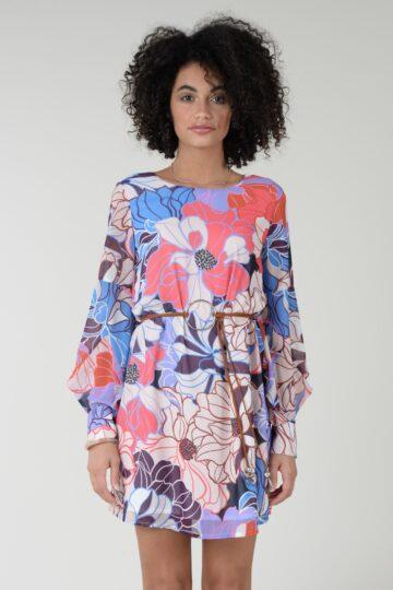 Dress printed straight
