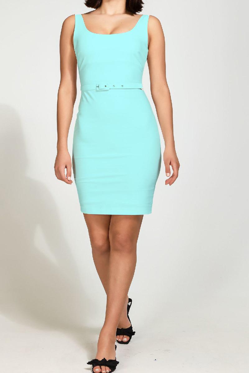 Μίνι φόρεμα με ζωνάκι aqua